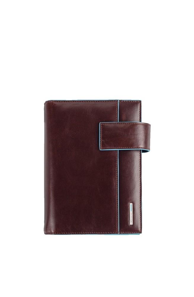 Agenda medio in pelle con patta e porta penne Blue Square AG1076B2-MO