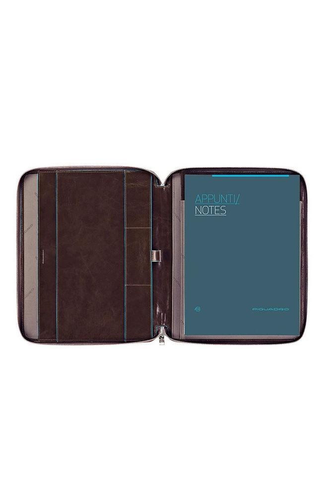 Portablocco sottile in pelle formato A4 con chiusura a zip e porta penne Blue Square - PB1164B2-MO