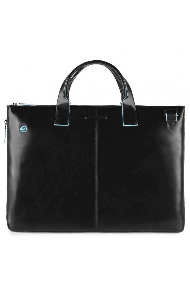 PIQUADRO Bolsa Blue Square Cartera Cuero negro ampliable - CA4021B2-N