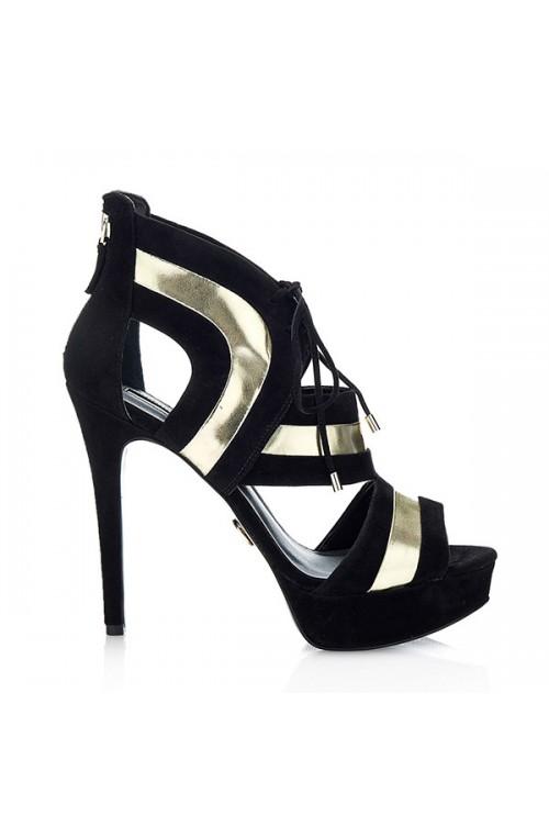 Guess Platform Sandals Female Black-Gold Size 6,5 - FLKAR1SUE09-BLKGI-40