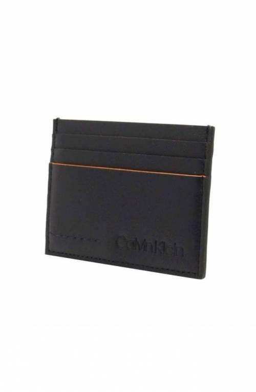 CALVIN KLEIN Credit card case FLEX Male Leather Blue navy - K50K504438067
