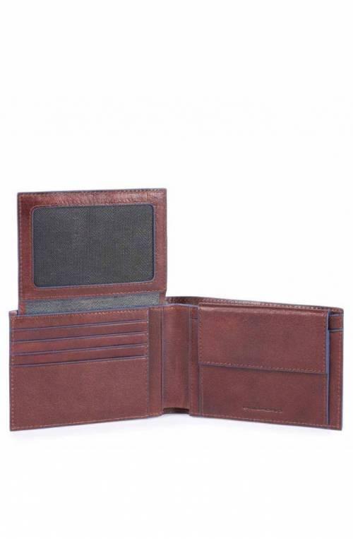 PIQUADRO Wallet Blue Square Male Leather Brown - PU1392B2SR-TM