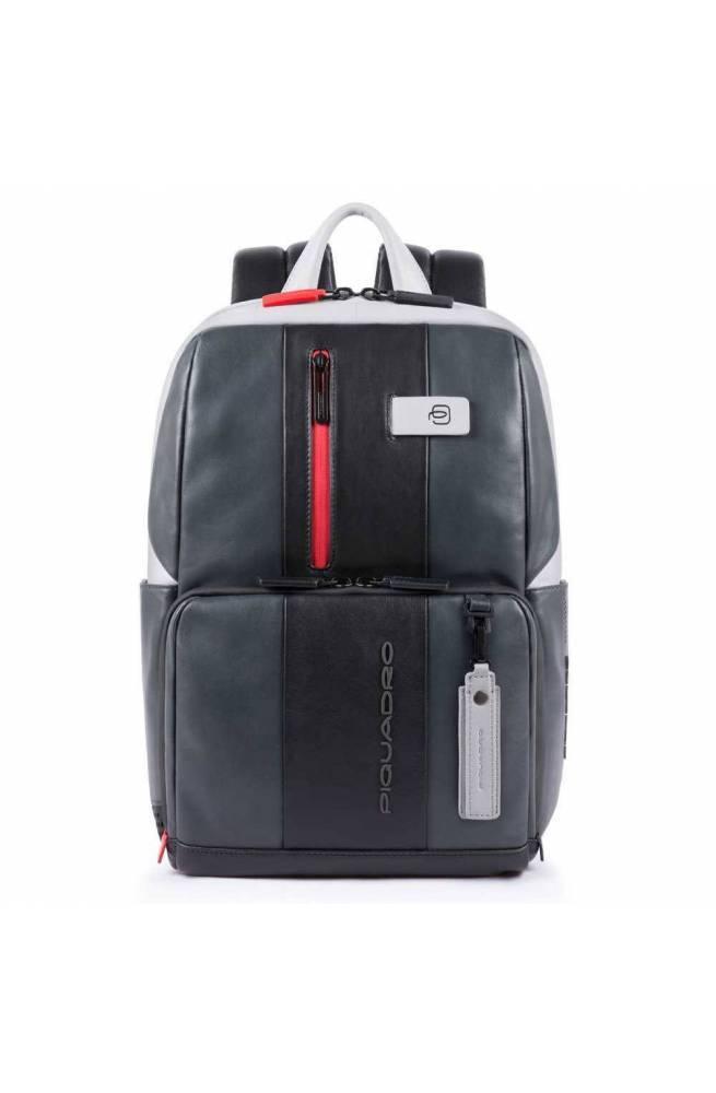 PIQUADRO Backpack Urban Male Leather Black Gray - CA3214UB00BM-GRN
