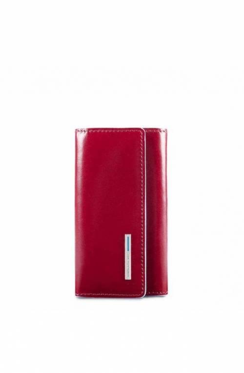 PIQUADRO Keyrings Blue Square red Leather - PC4521B2-R