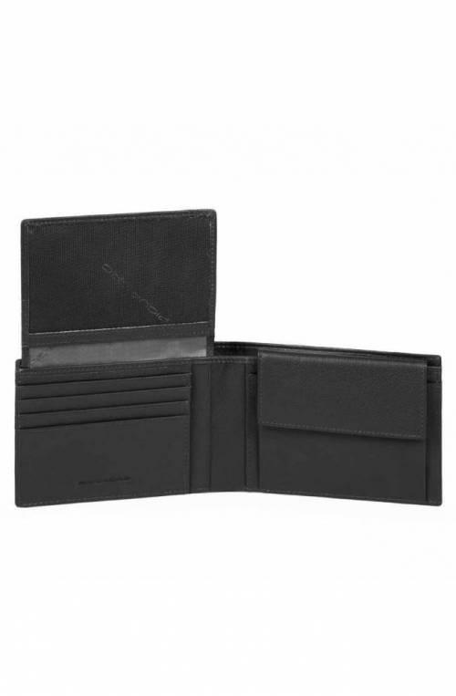 PIQUADRO Wallet P16 Male leather chevron Black - PU1392P16-CHEVN