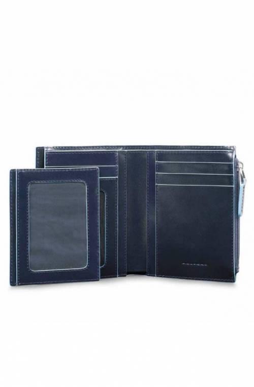 PIQUADRO Wallet RFID Blue Square Male Leather Blue - PU4519B2R-BLU2