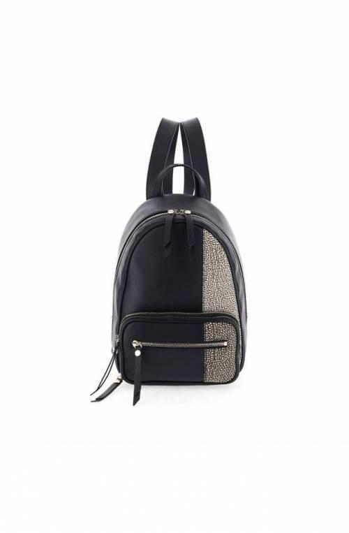 BORBONESE Backpack Female Leather Natural, Black - 963846-H96-480