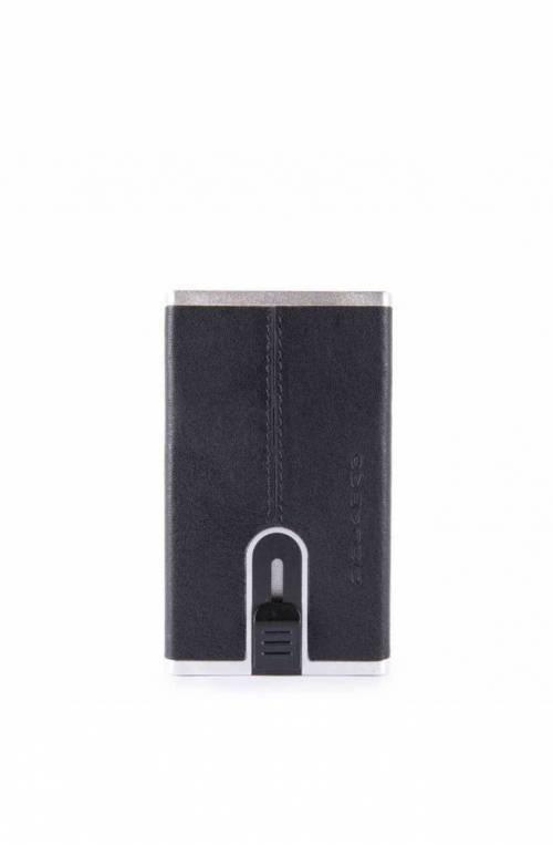 PIQUADRO Cardholder Black Square sliding system Blue - PP4825B3R-BLU