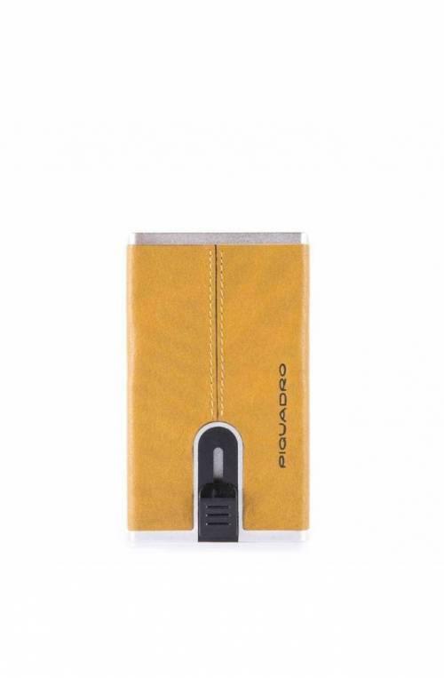 PIQUADRO Cardholder Black Square sliding system yellow - PP4825B3R-G