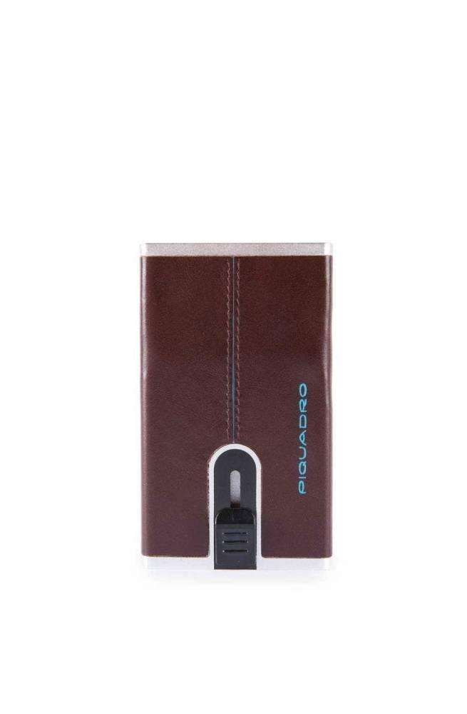 PIQUADRO Cardholder Compact wallet Blue Square Mahogany - PP4825B2R-MO