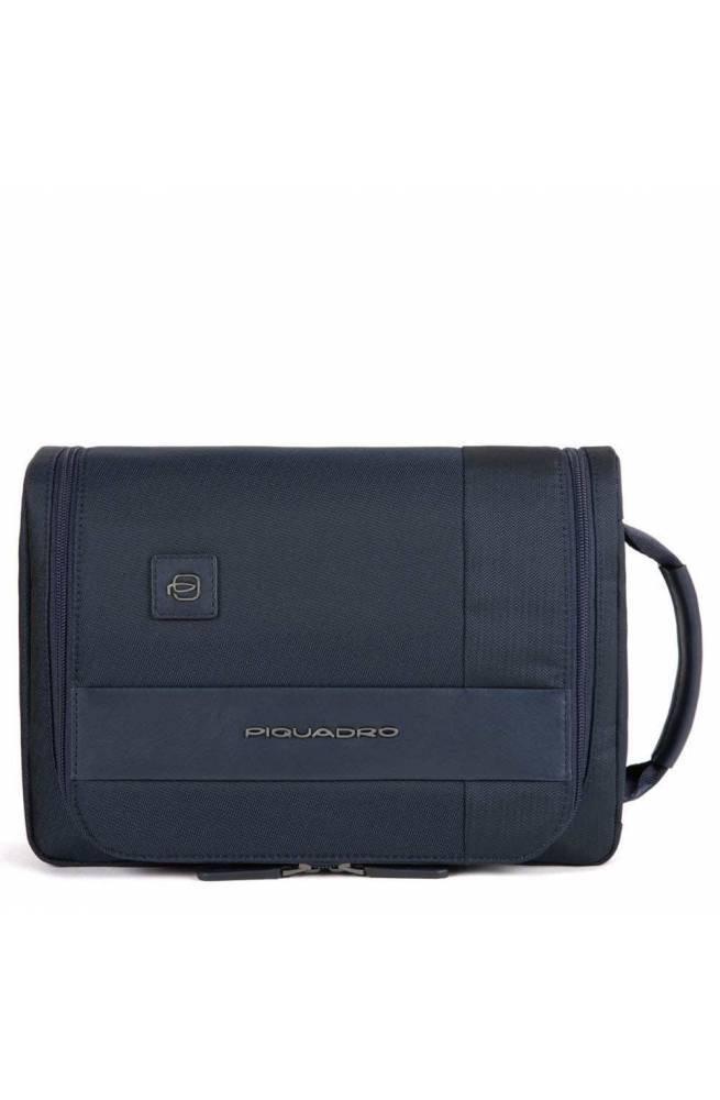 PIQUADRO Beauty case Tokyo Leder und Stoff Blau - BY3853S107-BLU