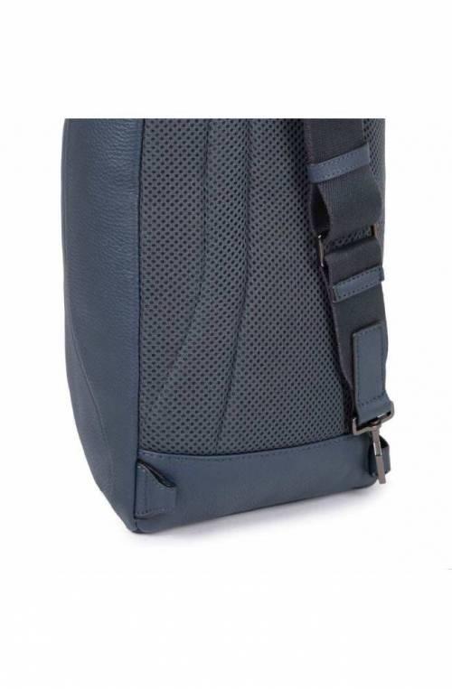 PIQUADRO Bag Akron Mono sling Leather Blue customizable - CA5107AO-BLU