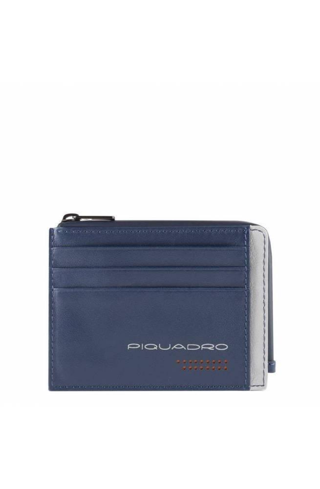 PIQUADRO Münzgeldbeutel Urban Leder Blau-grau - PP4822UB00R-BLGR