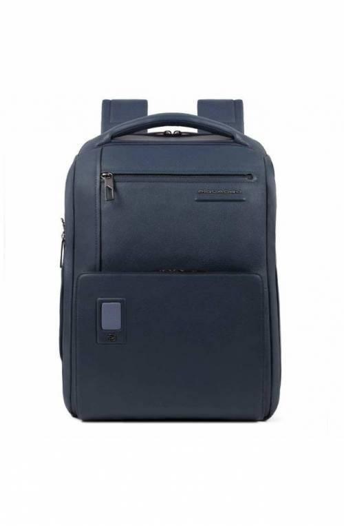 PIQUADRO Backpack Akron Leather Blue - CA5105AO-BLU