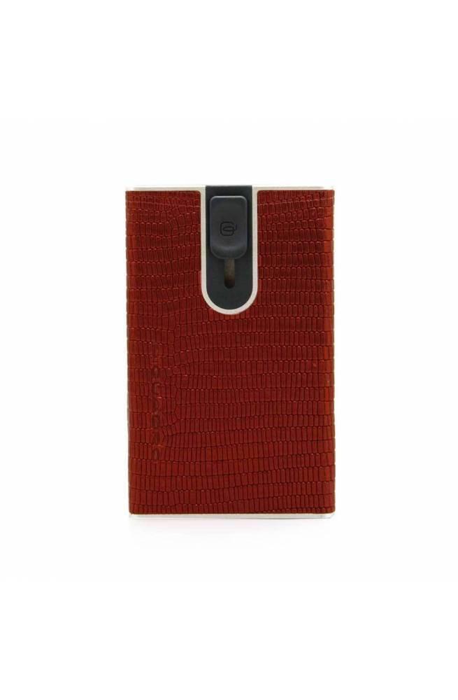 PIQUADRO porta tarjetas de crédito Hombre Cuero rojo - PP4825SOR-RLIZ