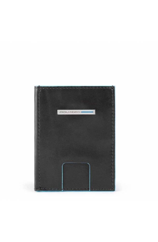 PIQUADRO Wallet Blue Square Male Leather Black - PU5203B2R-N