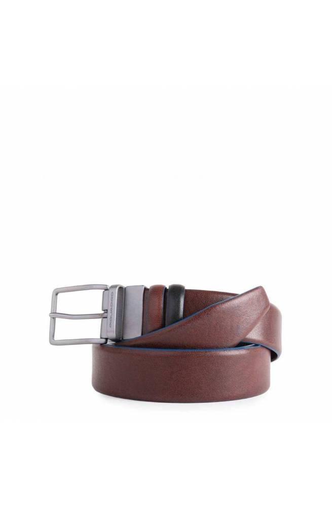 PIQUADRO Belt Blue Square Special Male Leather Brown-Black - CU4878B2S-TMN