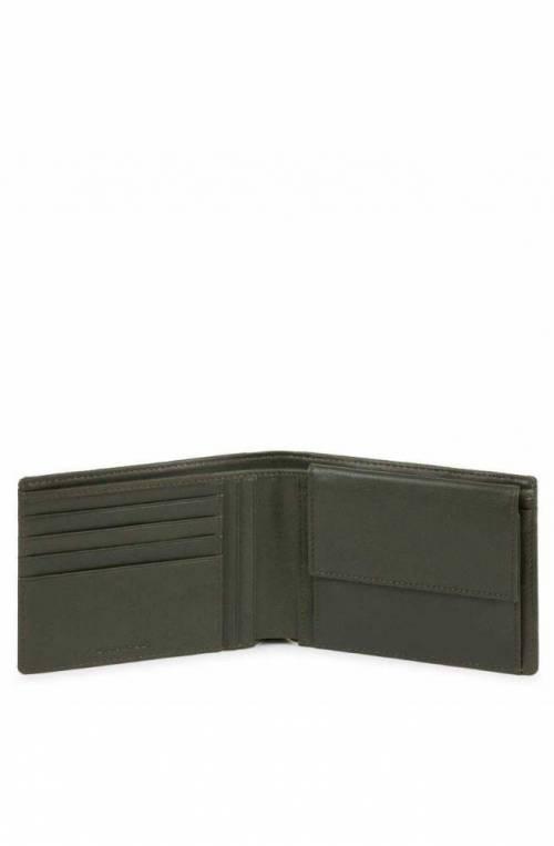 PIQUADRO Cartera cuero y tejido verde - PU257S115R-VE