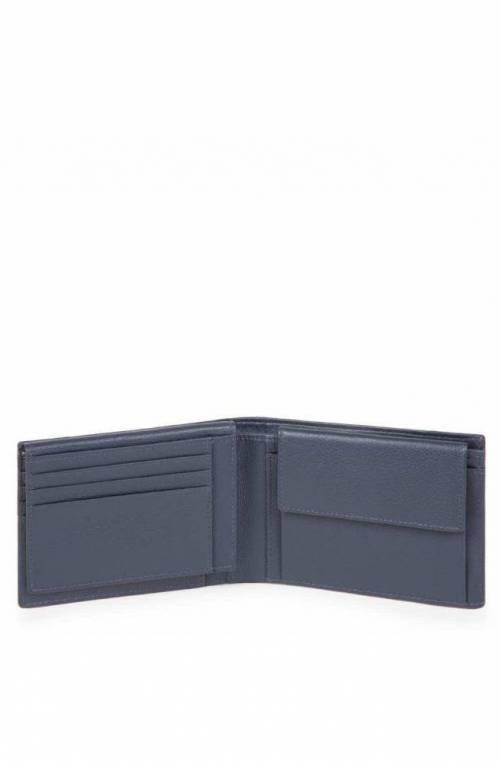 Portafoglio PIQUADRO P16S Uomo pelle e tessuto Blu - PU1392P16-CHEVBLU