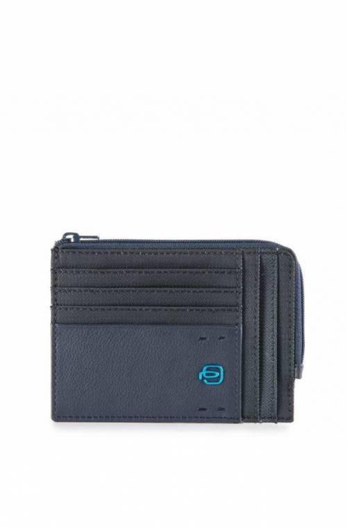 PIQUADRO Cardholder P16 Blue Leather - PU1243P16-CHEVBLU