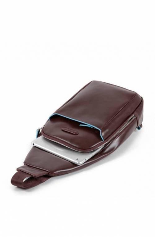 PIQUADRO Bag Blue Square Male Mono sling Leather Blue - CA4827B2-BLU2