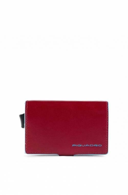 PIQUADRO Kartenhalter Blue Square rot Leder - PP5472B2R-R