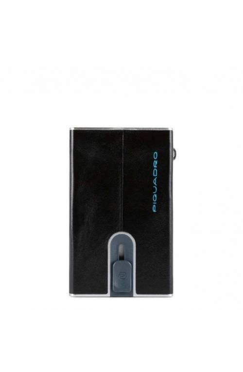 PIQUADRO Kartenhalter Schwarz Leder Kartenfächer - PP5585B2R-N
