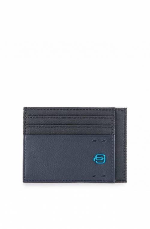 PIQUADRO Kartenhalter P16 Blau Leder und Stoff - PP2762P16-CHEVBLU