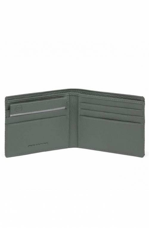 Portafoglio PIQUADRO Trakai Uomo pelle e tessuto verde - PU3891W109R-VE
